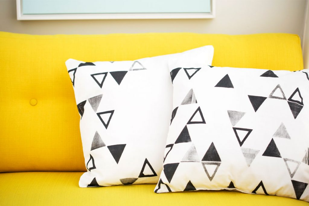 BRIT+CO diy stamp pillows